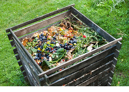Vegetables, fruits, and other food waste in a wooden compost bin located in a back yard with green grass.