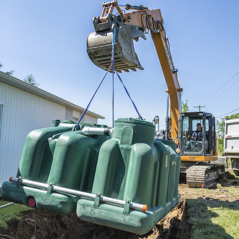 ecoflo green septic system installation with backhoe