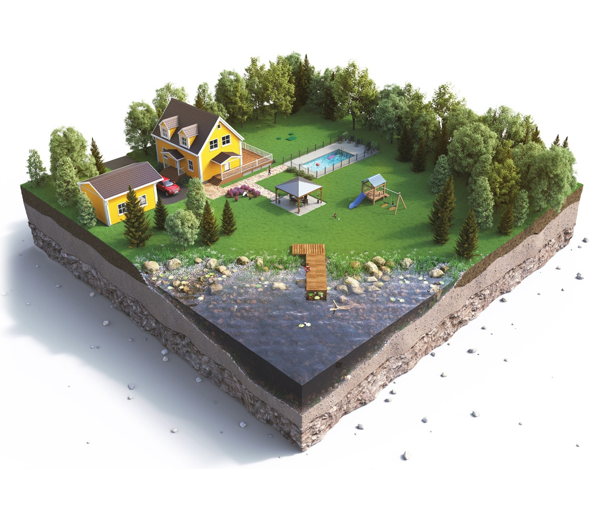 ecoflo green septic system 3d illustration