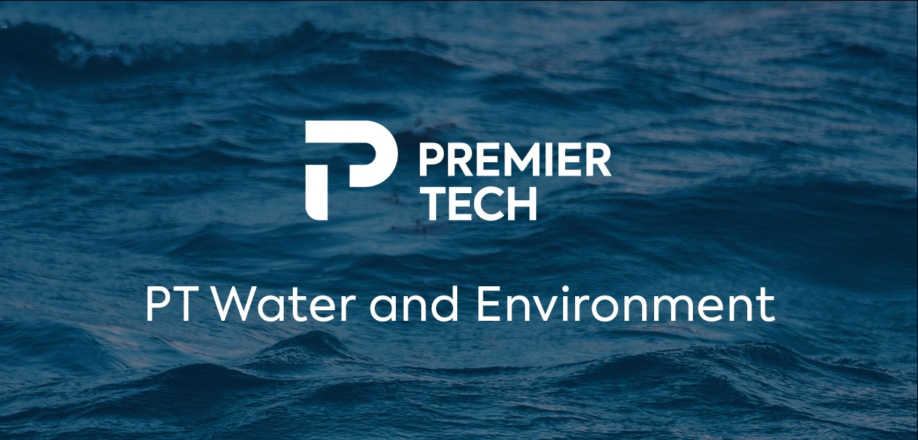 Premier Tech Water and Environment logo superimposed on an image of blue water.