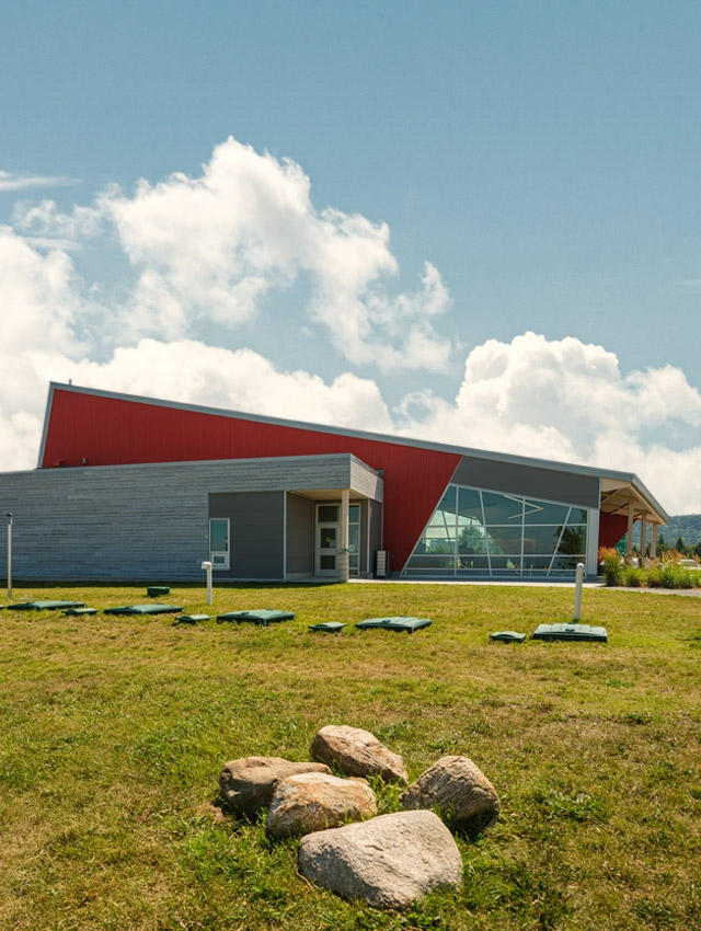 ecoflo green septic system clusters for roadside rest area in quebec